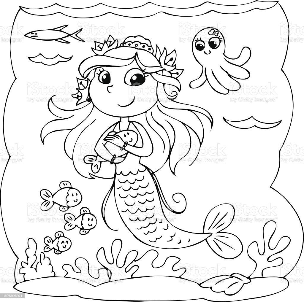 Färben Meerjungfrau Fische Unter Wasser Stock Vektor Art und mehr ...