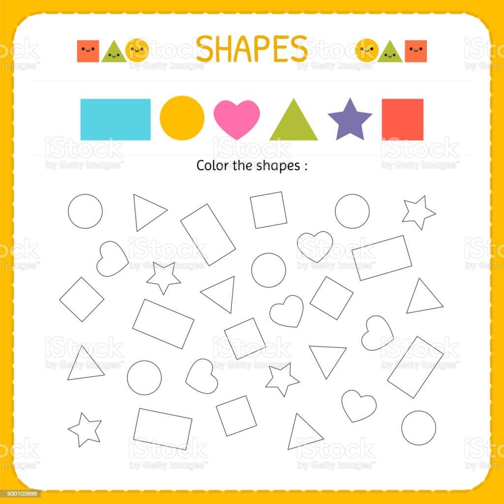 Färben Mehrere Shapes Formen Und Geometrischen Figuren Zu Lernen ...