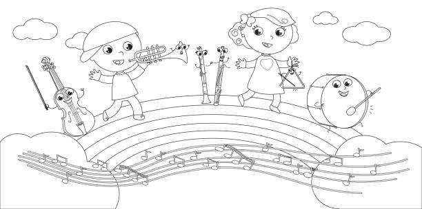 Notas Musicales Para Colorear Vectores Libres De Derechos