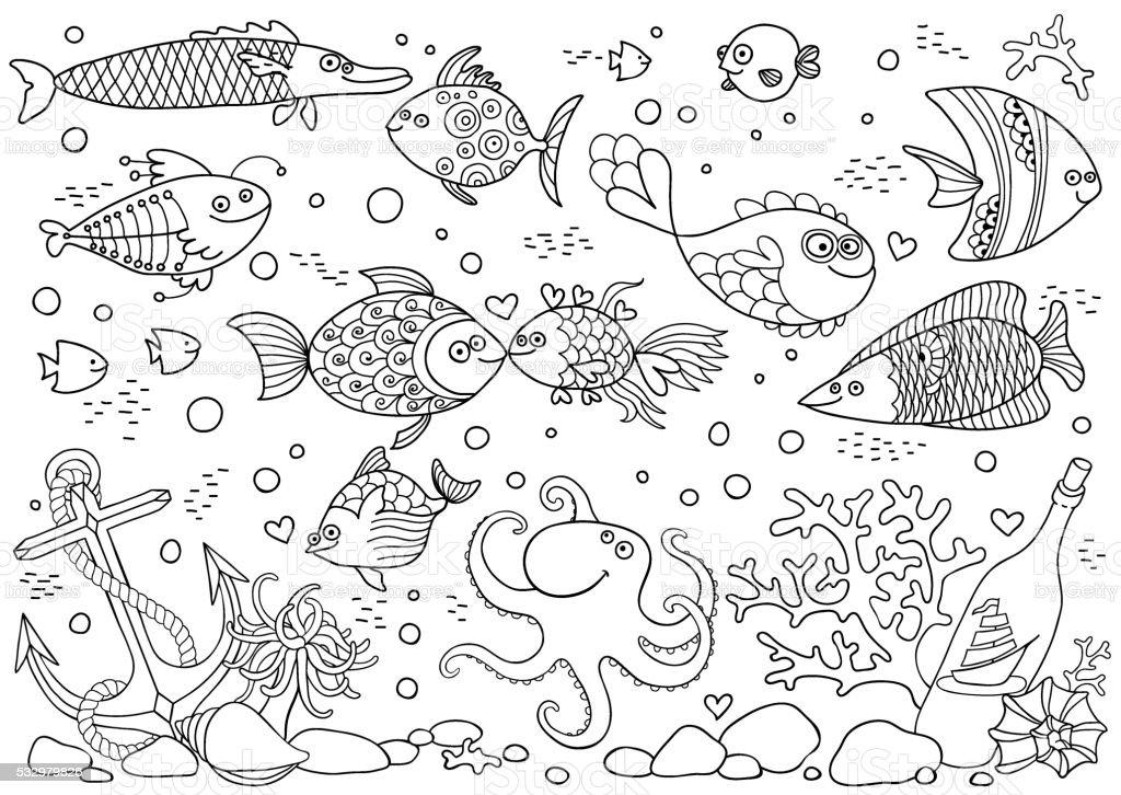 Coloring of underwater world. Aquarium with fish, octopus, corals, anchor vector art illustration