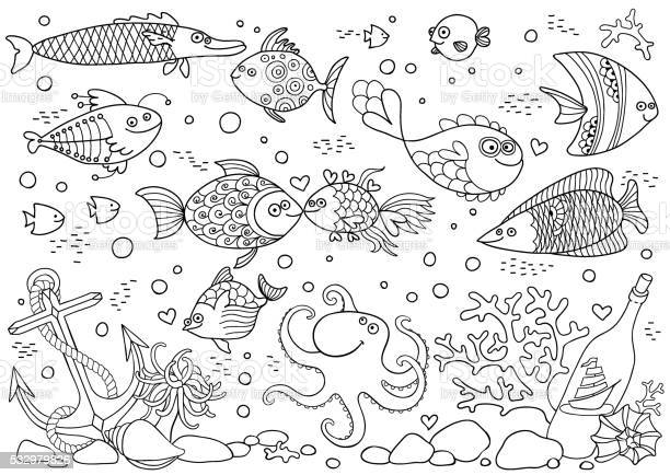 Coloring Of Underwater World Aquarium With Fish Octopus Corals Anchor Stock Illustration - Download Image Now