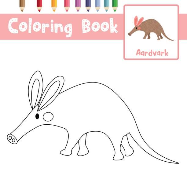 malvorlagen aardvark-vektor-illustration - ameisenbär stock-grafiken, -clipart, -cartoons und -symbole