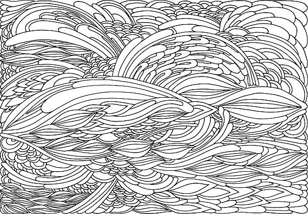 Coloring page abstract waves vector art illustration