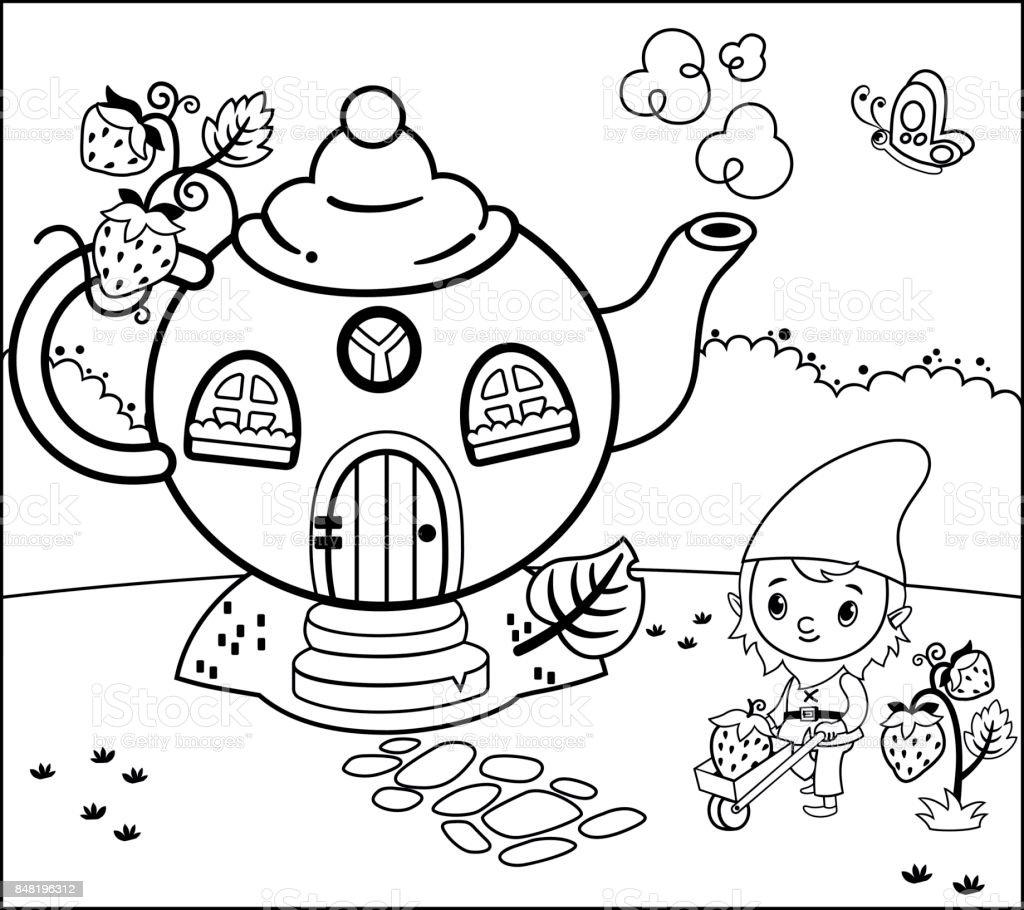 Gnome Ile Boyama Sayfası Etkinlik Stok Vektör Sanatı Anaokulunin