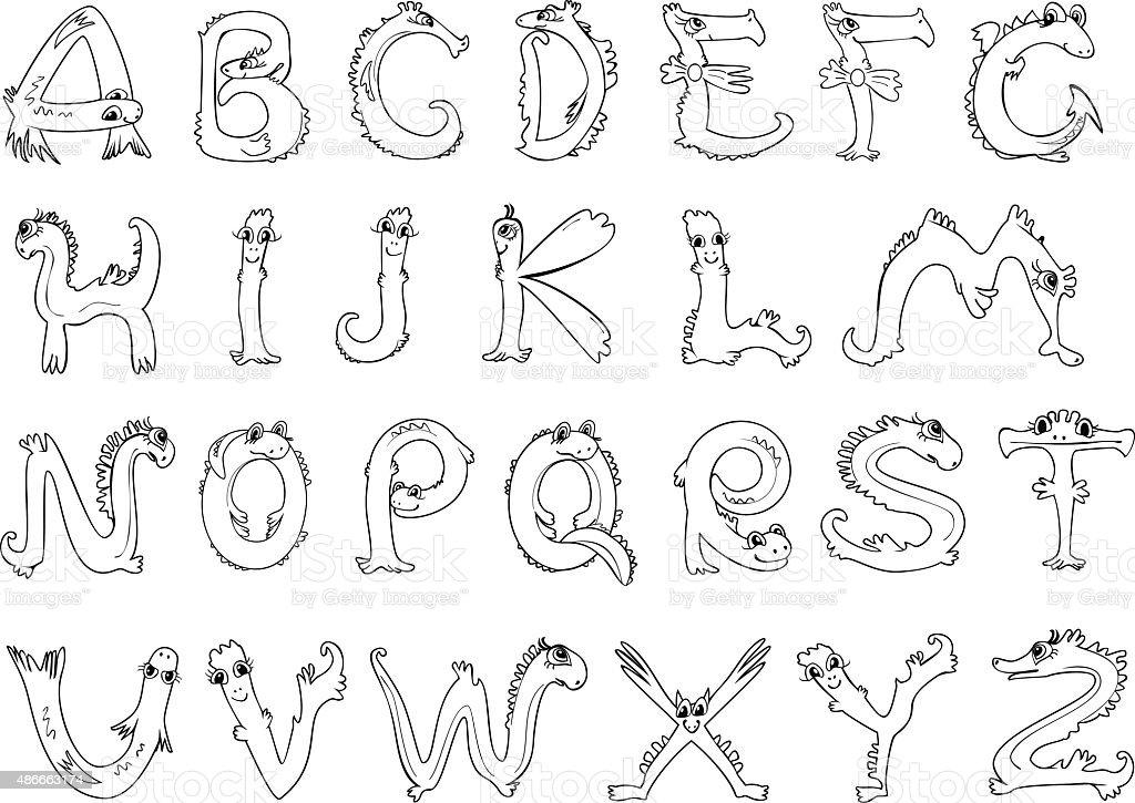 Página Para Colorear Alfabeto En Forma De Animales - Arte vectorial ...
