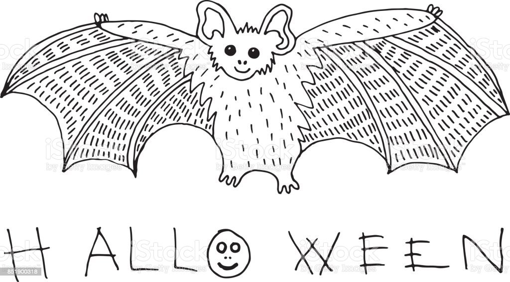 Kleurplaten Halloween Vleermuizen.Kleurplaat En Doodle Schets Met Vleermuis En Halloween Word Vakantie