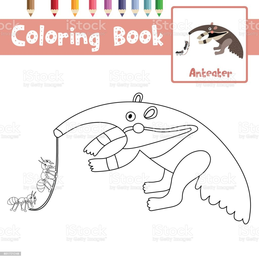 Coloring Page Anteater Eating Ants Vector Illustration Royalty Free Coloring  Page Anteater Eating Ants Vector