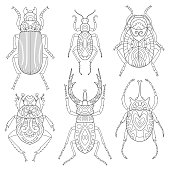 Coloring page. Antistress coloring book for adults beetles set