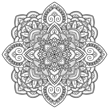Coloring page. Antistress coloring book for adults. Mandala. Outline drawing