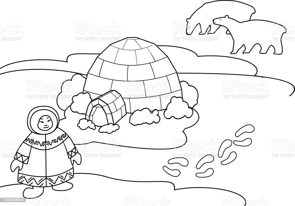 Ilustración De Página Para Colorear Paisaje ártico Con