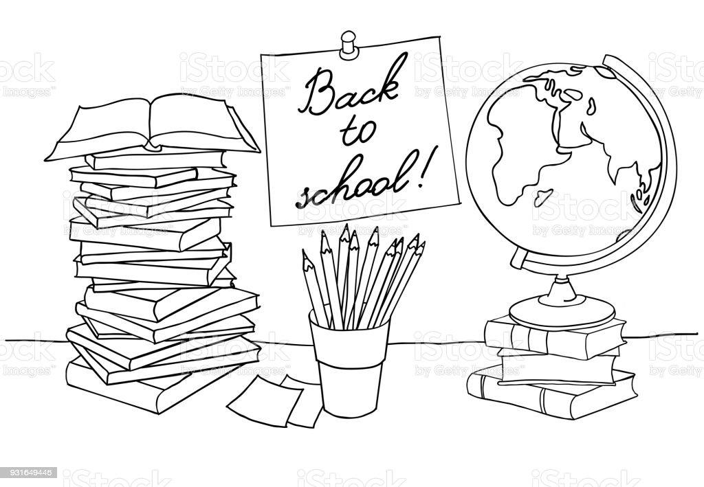 Ilustración de Página Para Colorear De Regreso A La Escuela y más ...