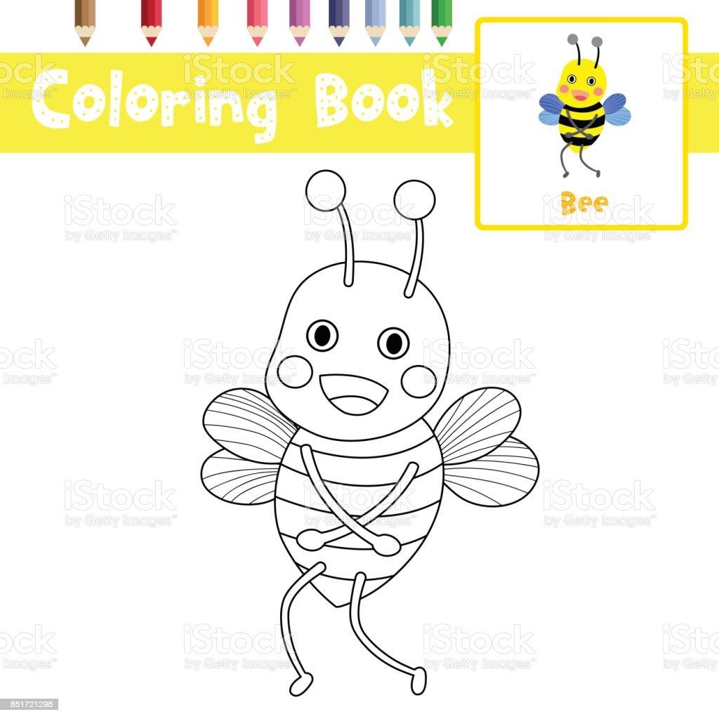 Boyama Sayfası Arı Ayakta Hayvan Karikatür Karakter Vektör çizim