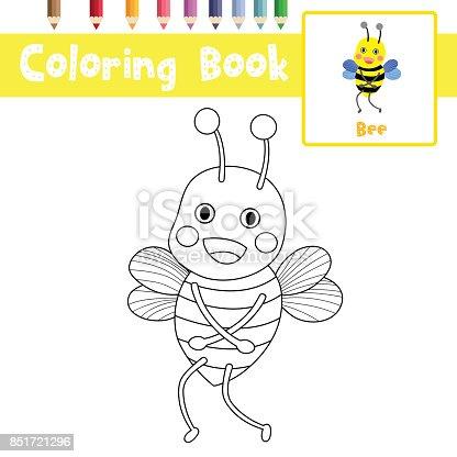 Ilustración de Colorear Ilustración De Vector De Página Abeja Pie ...