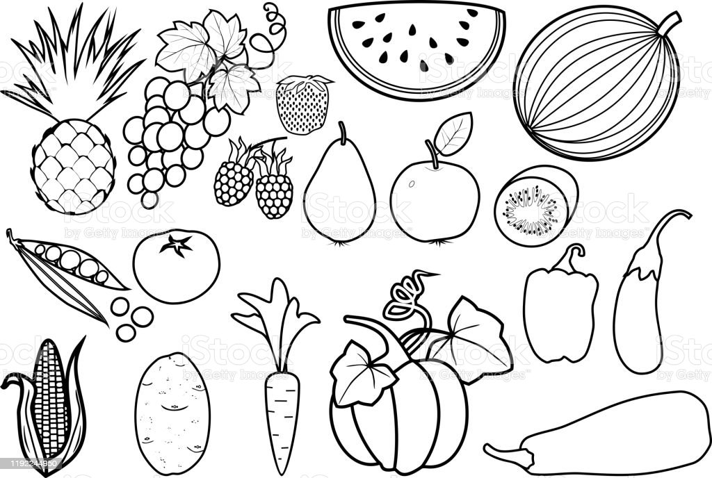 Coloring Page Big Set Of Different Fruits And Vegetables Stock Illustration  - Download Image Now - IStock