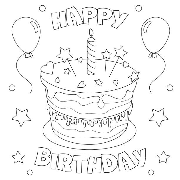 129 Birthday Cake Coloring Page Illustrations Clip Art Istock