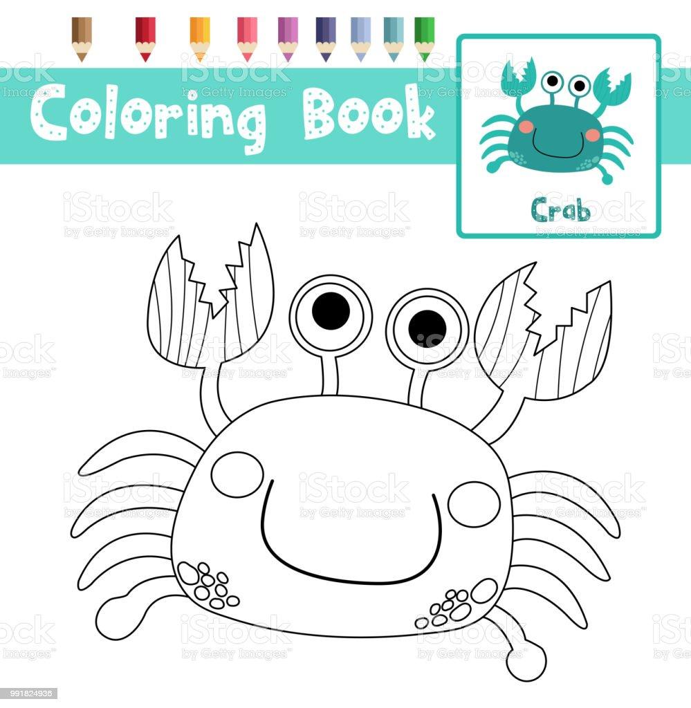 Ilustración de Colorear Ilustración De Vector De Página Cangrejo ...