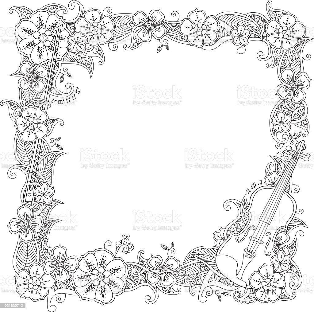 Coloring Page Border Square Frame With Violin Isolated On Stock
