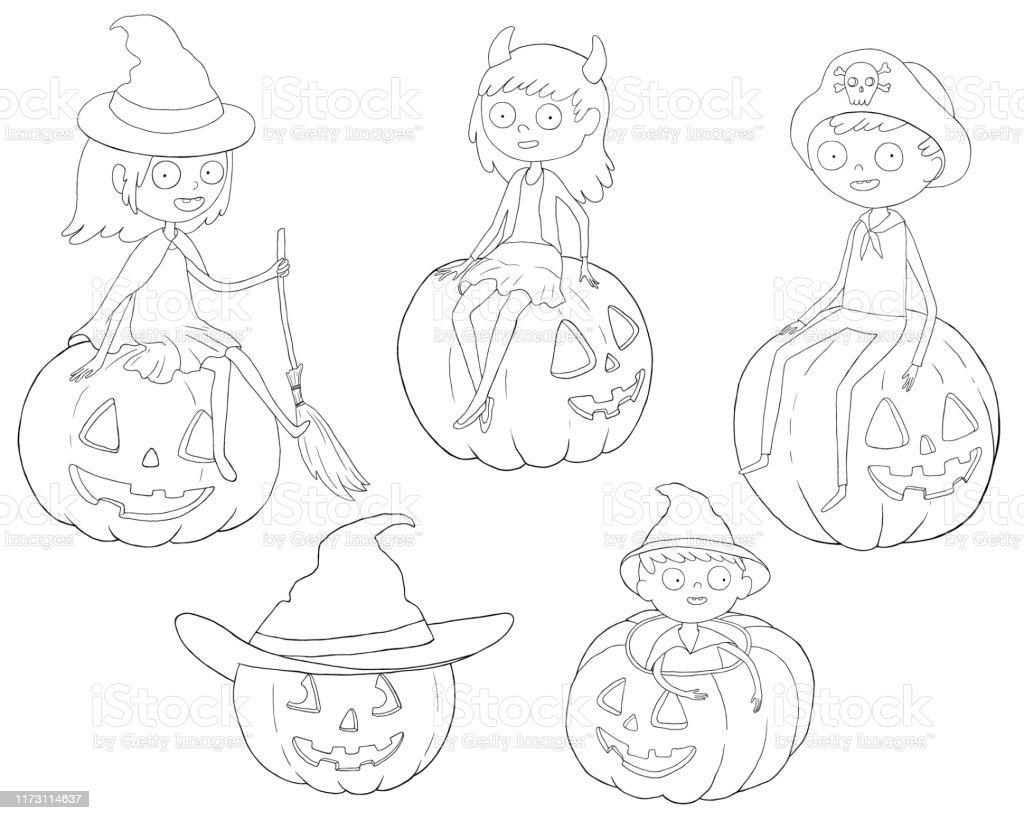 Page De Coloriage Garcons Et Filles En Costumes Dhalloween Vecteurs Libres De Droits Et Plus D Images Vectorielles De Art Istock