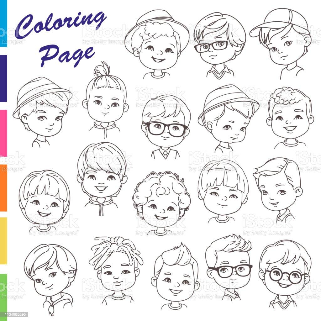 Ilustración De Página Para Colorear Avatares Del Niño Y Más