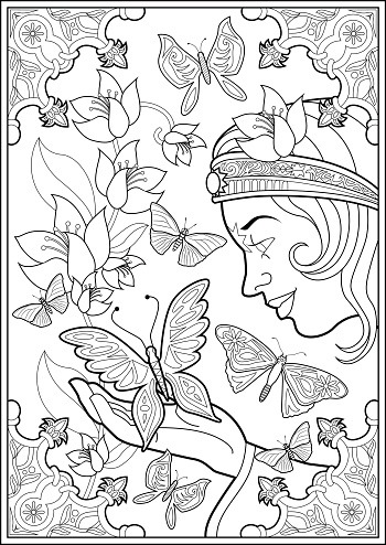 Coloring Page Butterflies And Fairy Princess