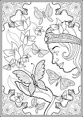 Vector Illustration of a black and white outline image of butterflies flying, with a princess Fairy on a background of flowers in springtime.