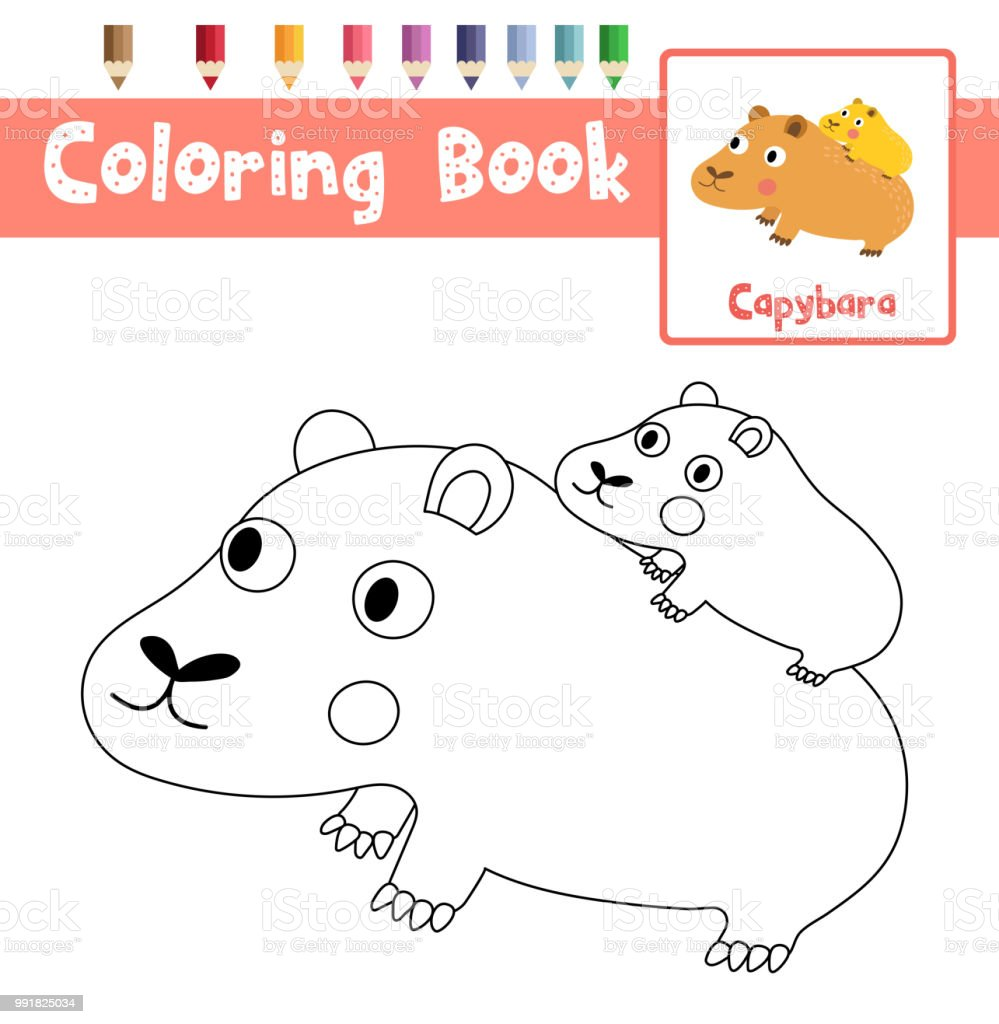 Coloring Page Capybara Mother And Child Animal Cartoon Character Vector Illustration Royalty Free