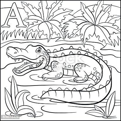 Ilustración de Página Para Colorear Alfabeto De Animales De Dibujos ...