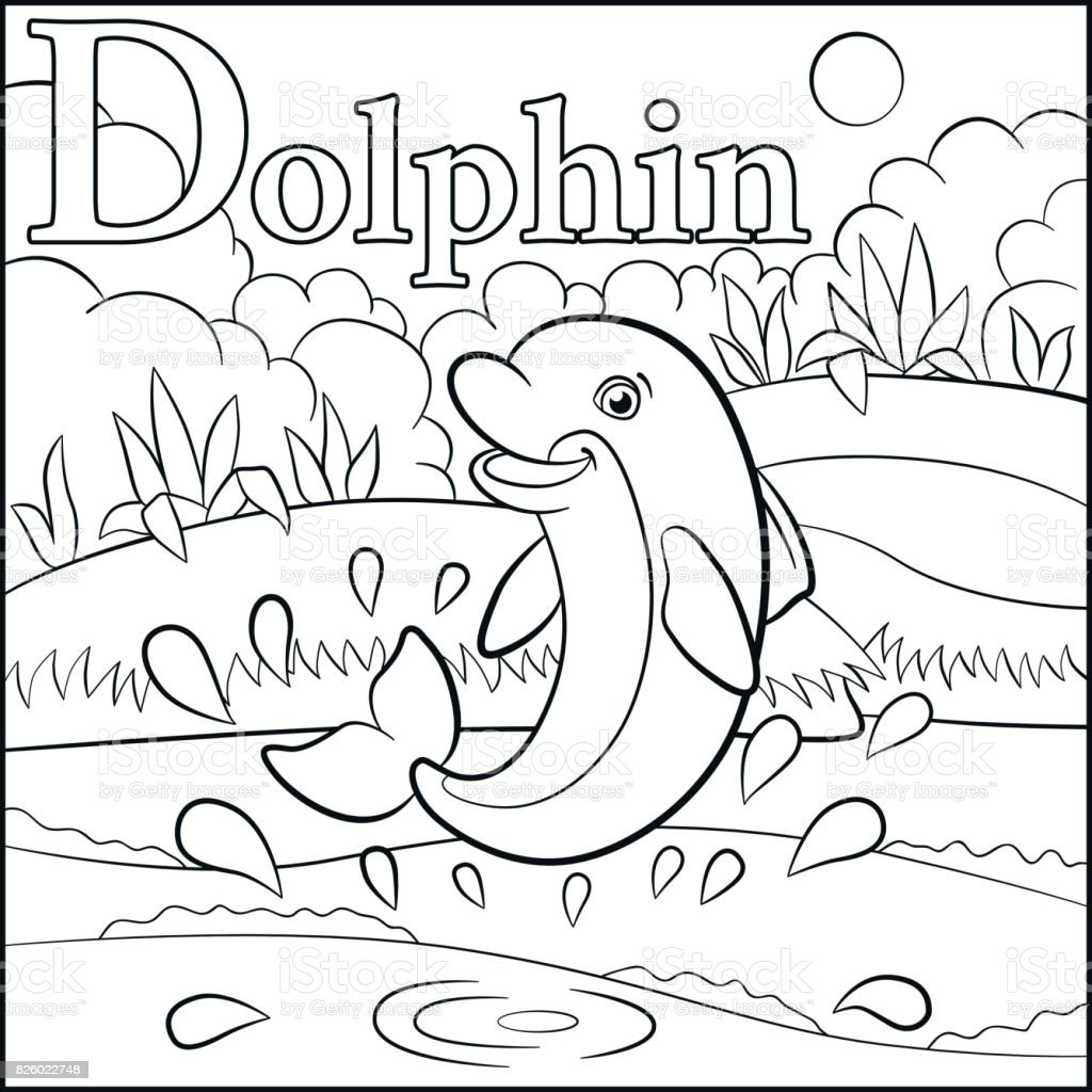 Coloring Page Cartoon Animals Alphabet D Is For Dolphin Stock Vector ...