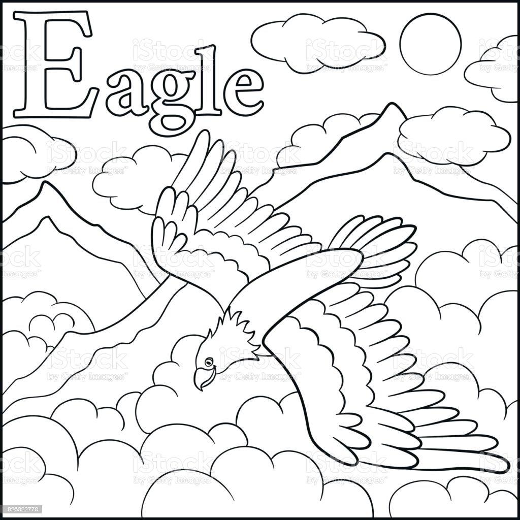 Alphabet animaux de dessin animé e est pour eagle stock vecteur libres