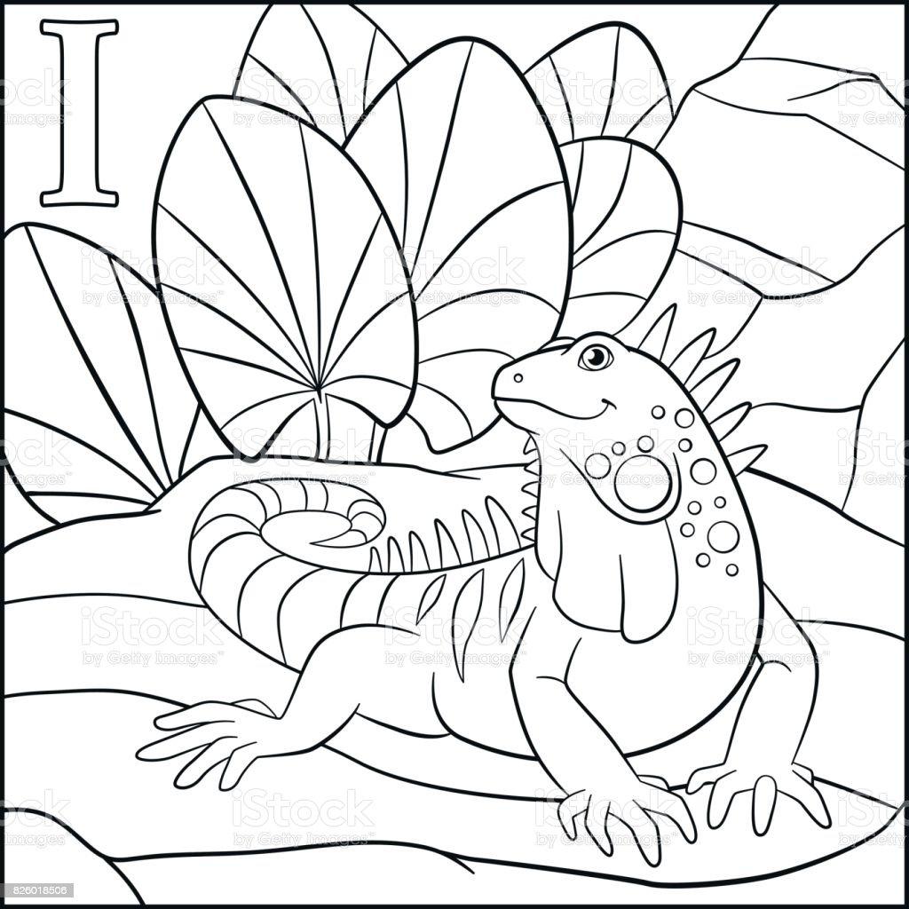 Boyama Sayfası Karikatür Hayvanlar Alfabe Ben Iguana Için Var Stok