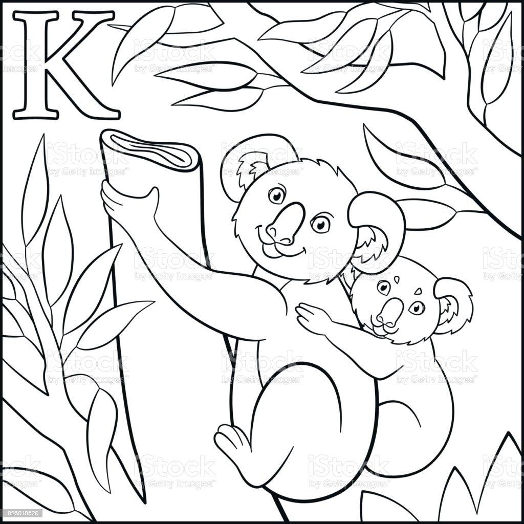 kleurplaat tekenfilm dieren alfabet k is voor koala
