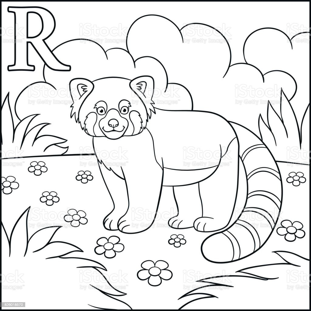 Coloring Page Cartoon Animals Alphabet R Is For Red Panda Stock