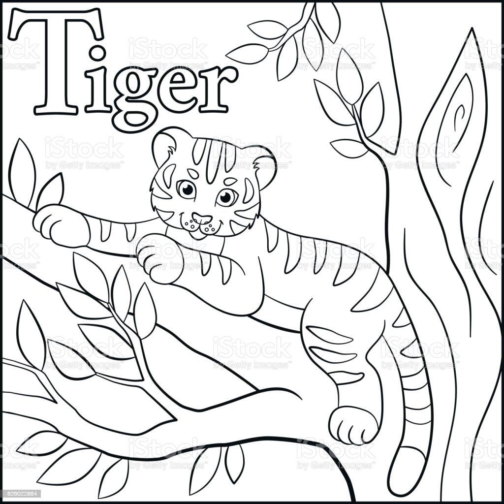 Página Para Colorear Alfabeto De Animales De Dibujos Animados T Es ...