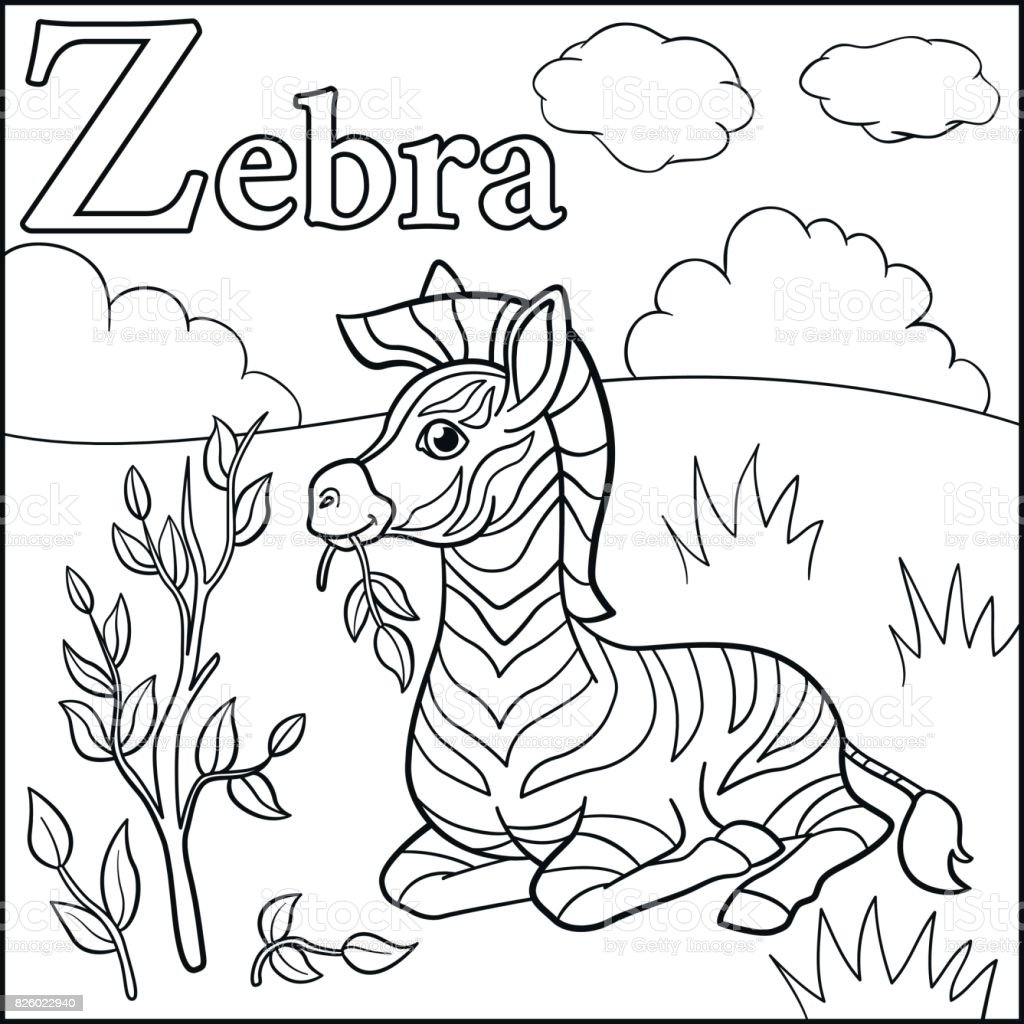 Coloring Page Cartoon Animals Alphabet Z Is For Zebra Stock Illustration Download Image Now Istock