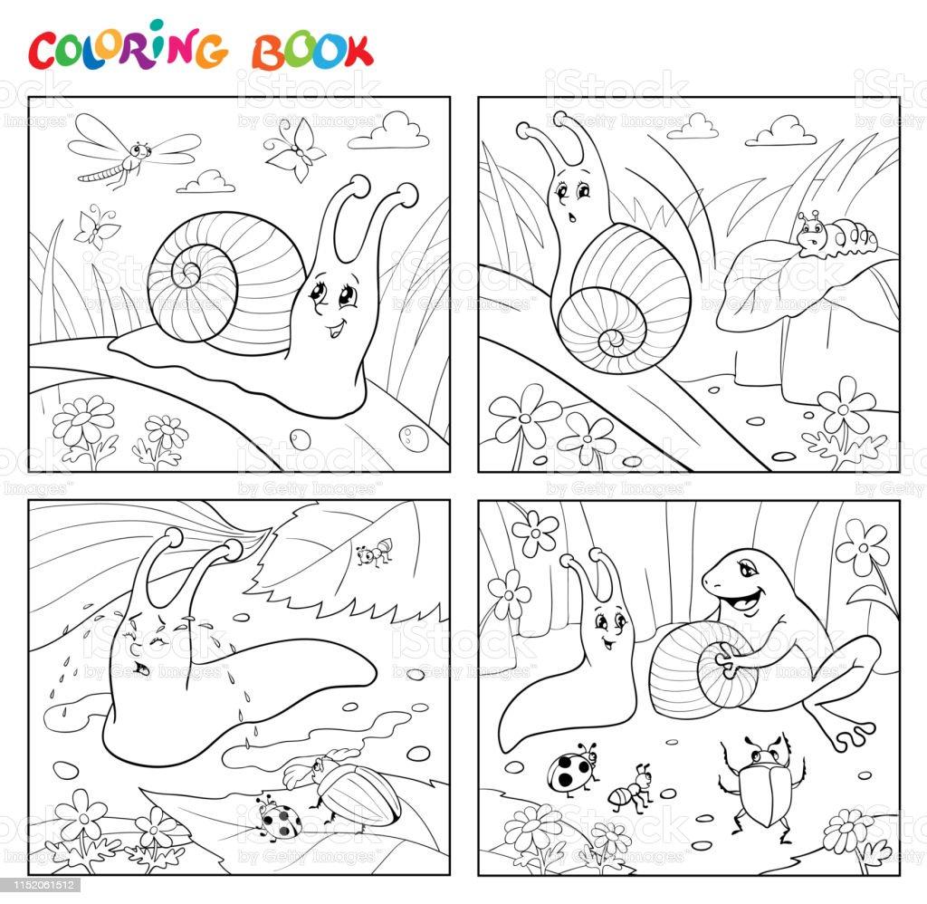 Ilustración De Página Para Colorear Dibujos Animados Ilustración De