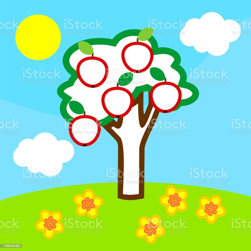 Boyama Sayfasi Elma Agaci Meyve Mavi Gokyuzu Beyaz Bulutlar Ve