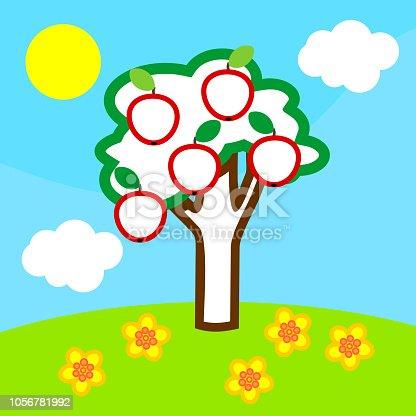Boyama Sayfası Elma Ağacı Meyve Mavi Gökyüzü Beyaz Bulutlar Ve Sarı