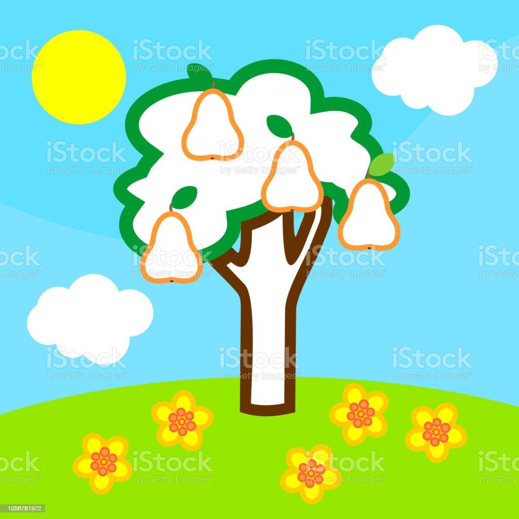 Ilustración De Página Para Colorear Paisaje De Verano Con El árbol