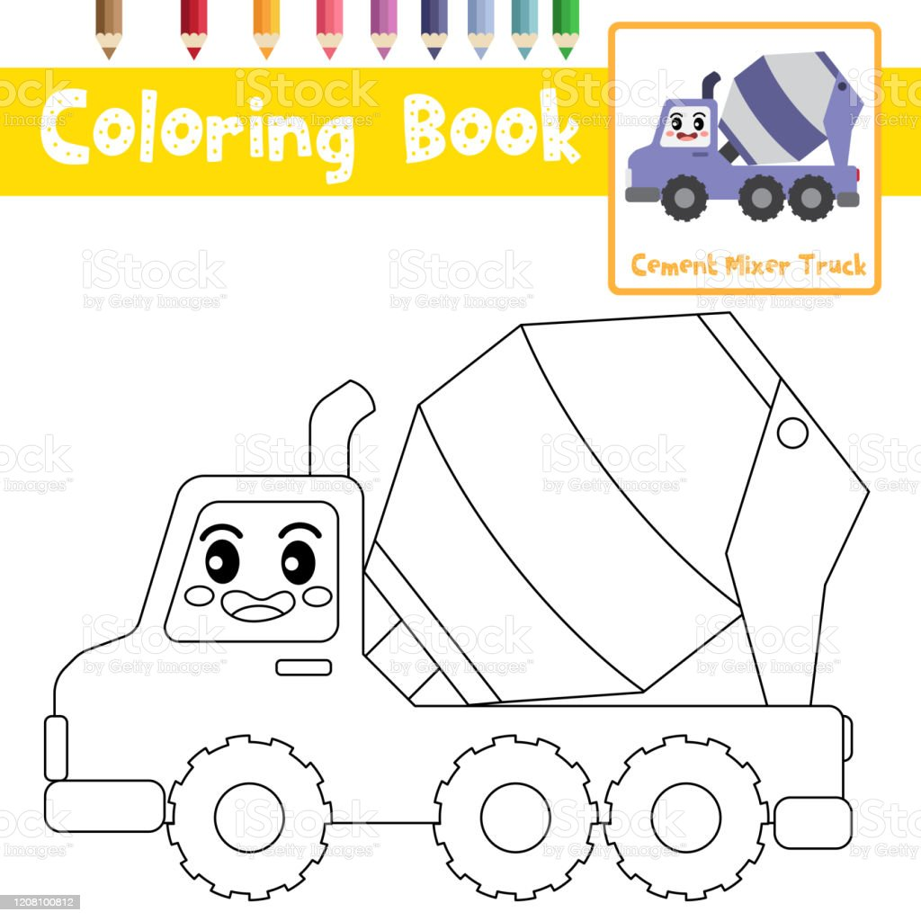 Cement Mixer Coloring Page - Coloring Home | 1024x1024