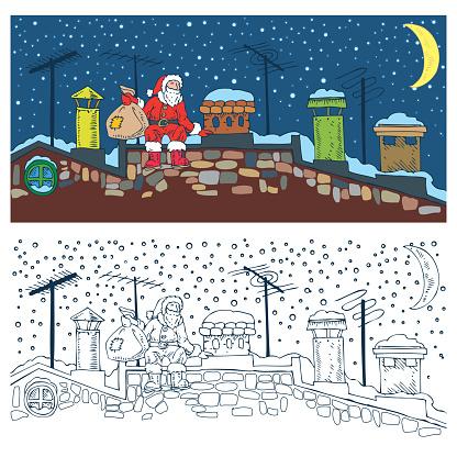 Coloring Page. Christmas Night and Santa