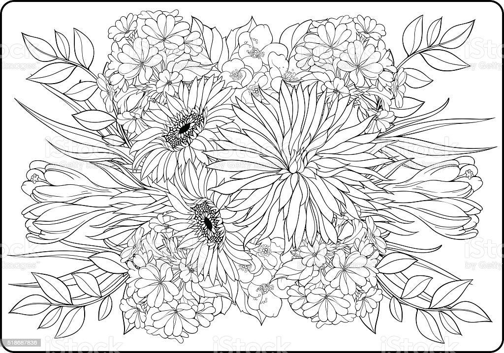 Mazzo Di Fiori Immagini Da Colorare.Pagina Da Colorare Primo Piano Mazzo Di Fiori Immagini