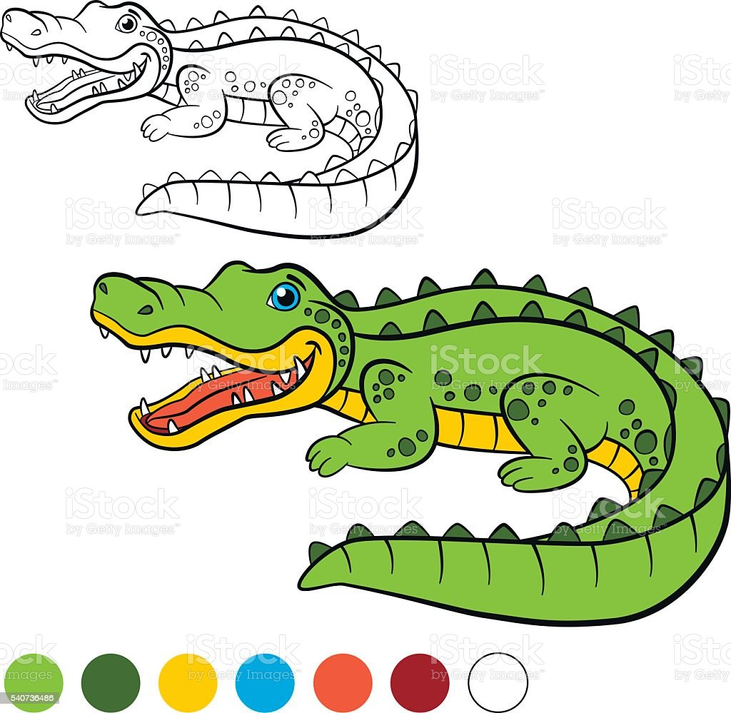 Coloring Page Color Me Alligator Little Cute Alligator stock vector ...