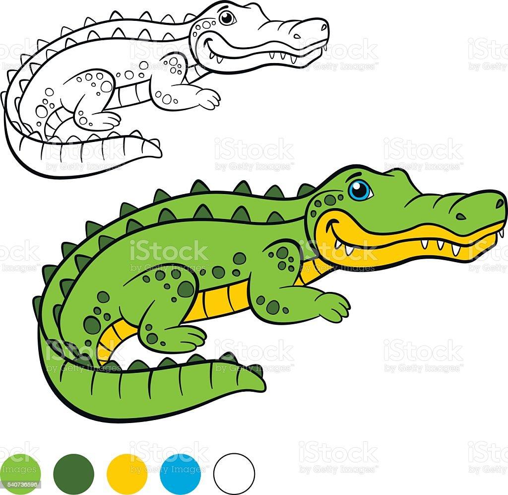 Ilustración de Colorear Página Me De Color De Cocodrilo Poco Lindo ...