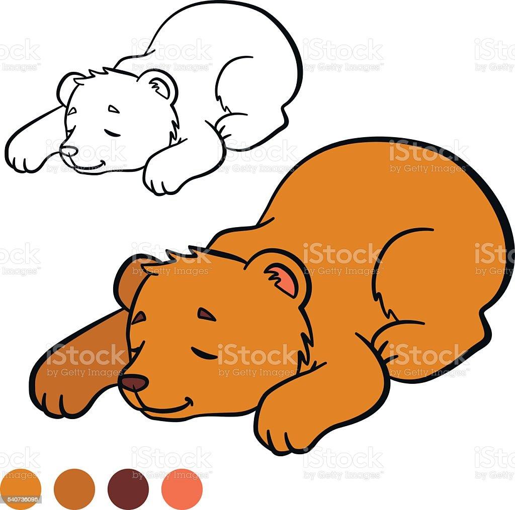 Färbung Seite Color Me Bär Kleines Süßes Baby Halten Stock Vektor ...