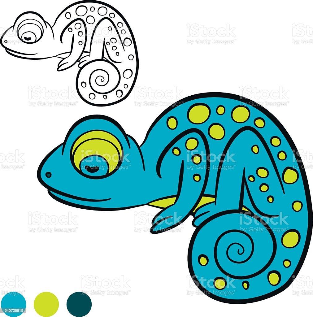 Coloring Page Color Me Chameleon Little Cute Blue Chameleon Stock ...
