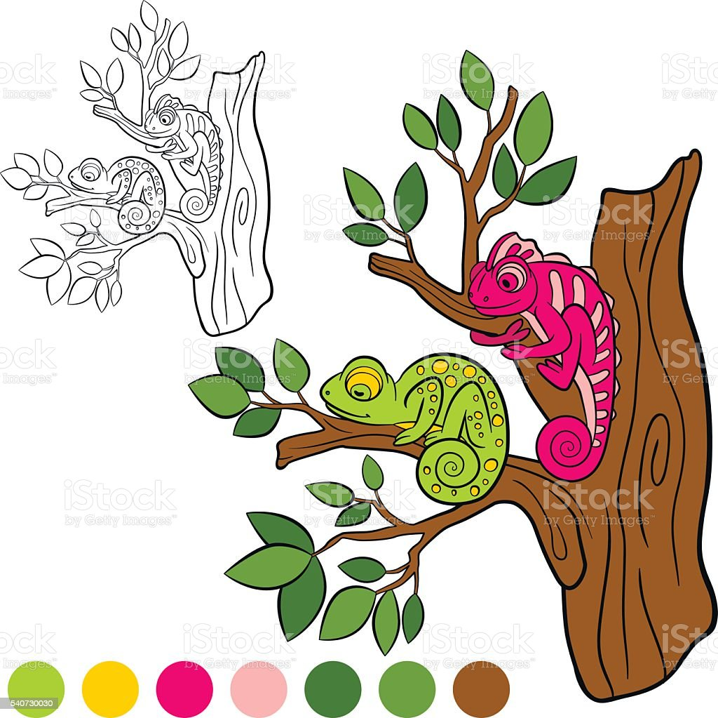 Coloring Page Color Me Chameleon Two Little Cute Chameleons stock ...