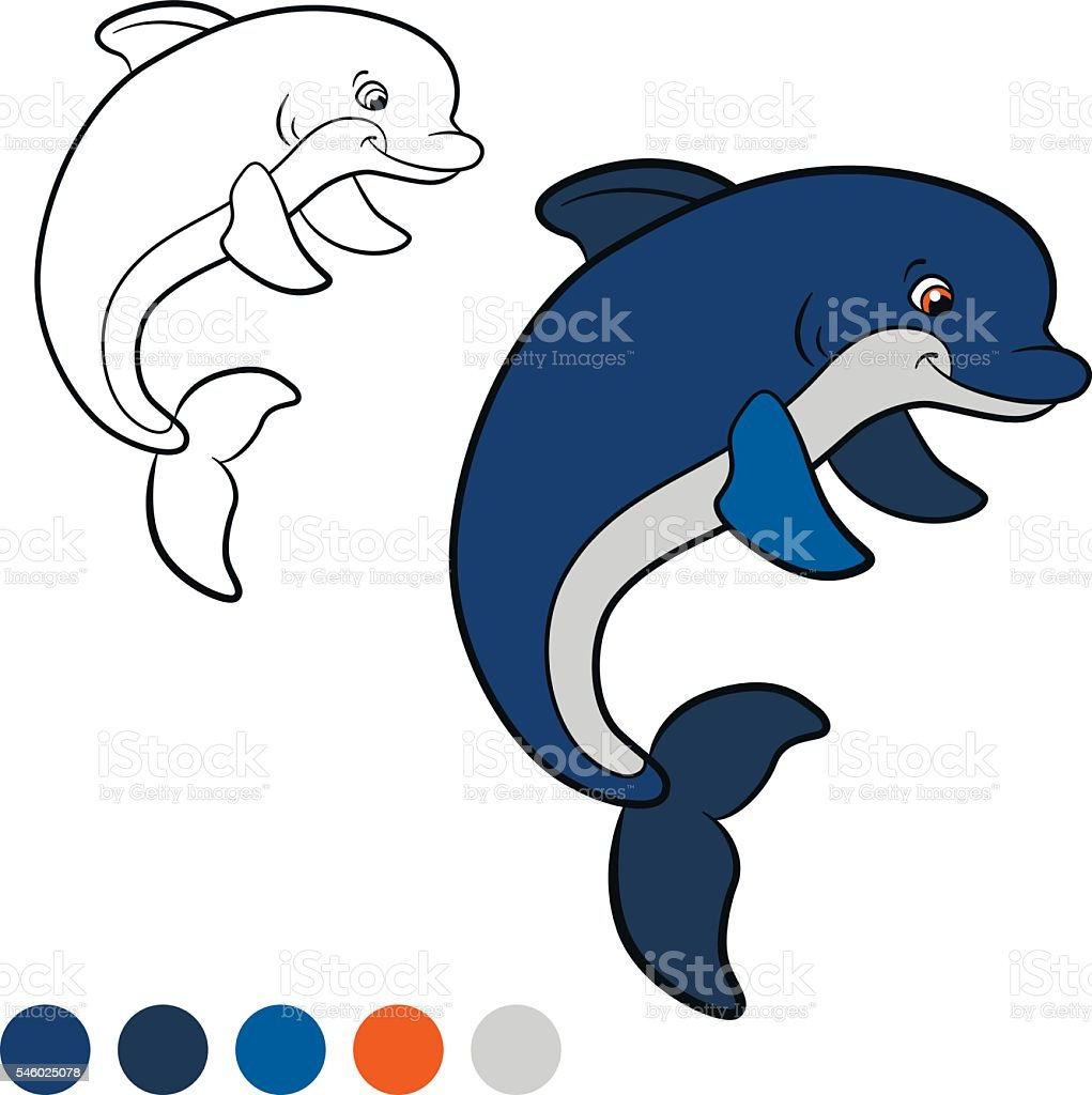 Coloring Page Color Me Dolphin Little Cute Dolphin Jumps Stock ...