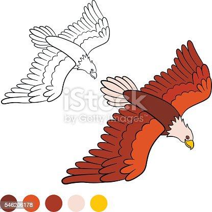 Ilustración de Coloring Page Color Me Eagle Cute Bald Eagle Flying y ...