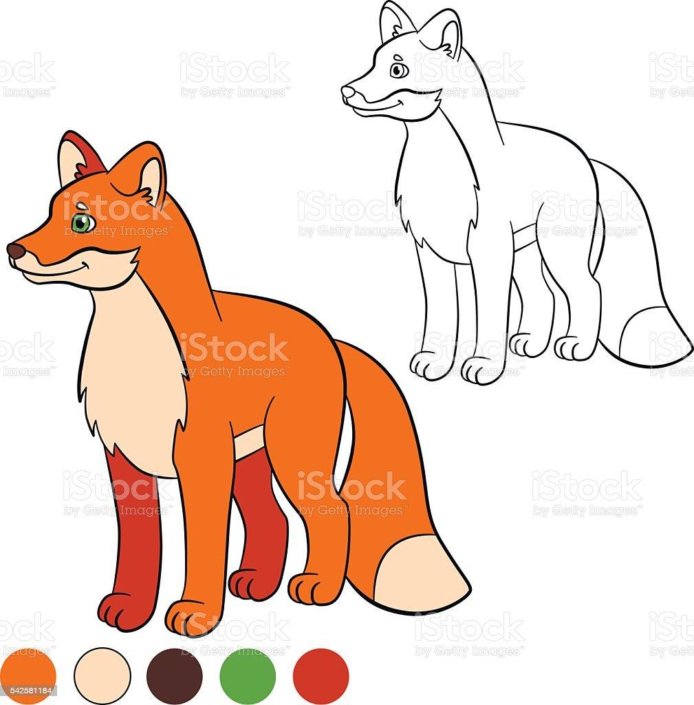 Colorear Página Me De Color Fox Poco Lindo Zorro Sonrisas - Arte ...