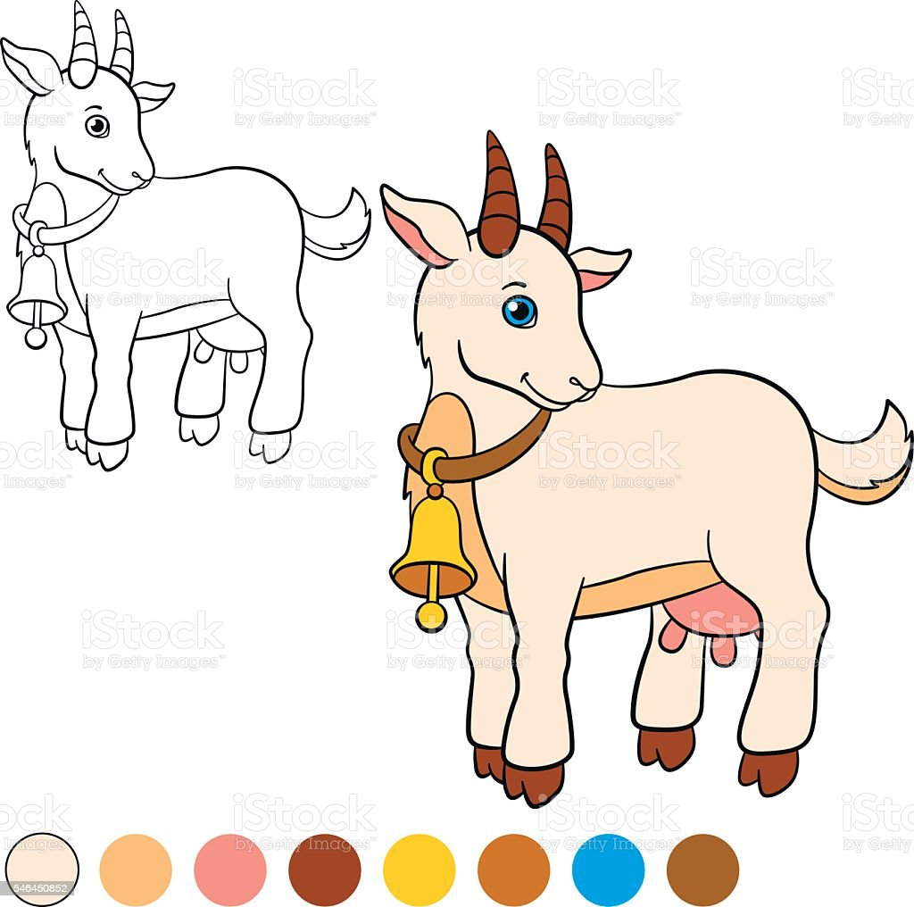 Cute Goat Royalty Free Coloring Page
